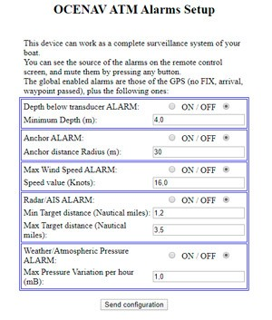 ocenav navigation alarms setup